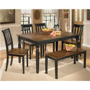 Signature Design by Ashley Owingsville 6-Piece Rectangular Table Set with Bench
