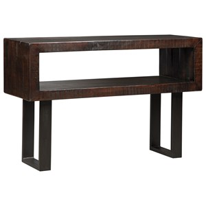 Rustic Solid Acacia Wood Sofa Table with Metal Base