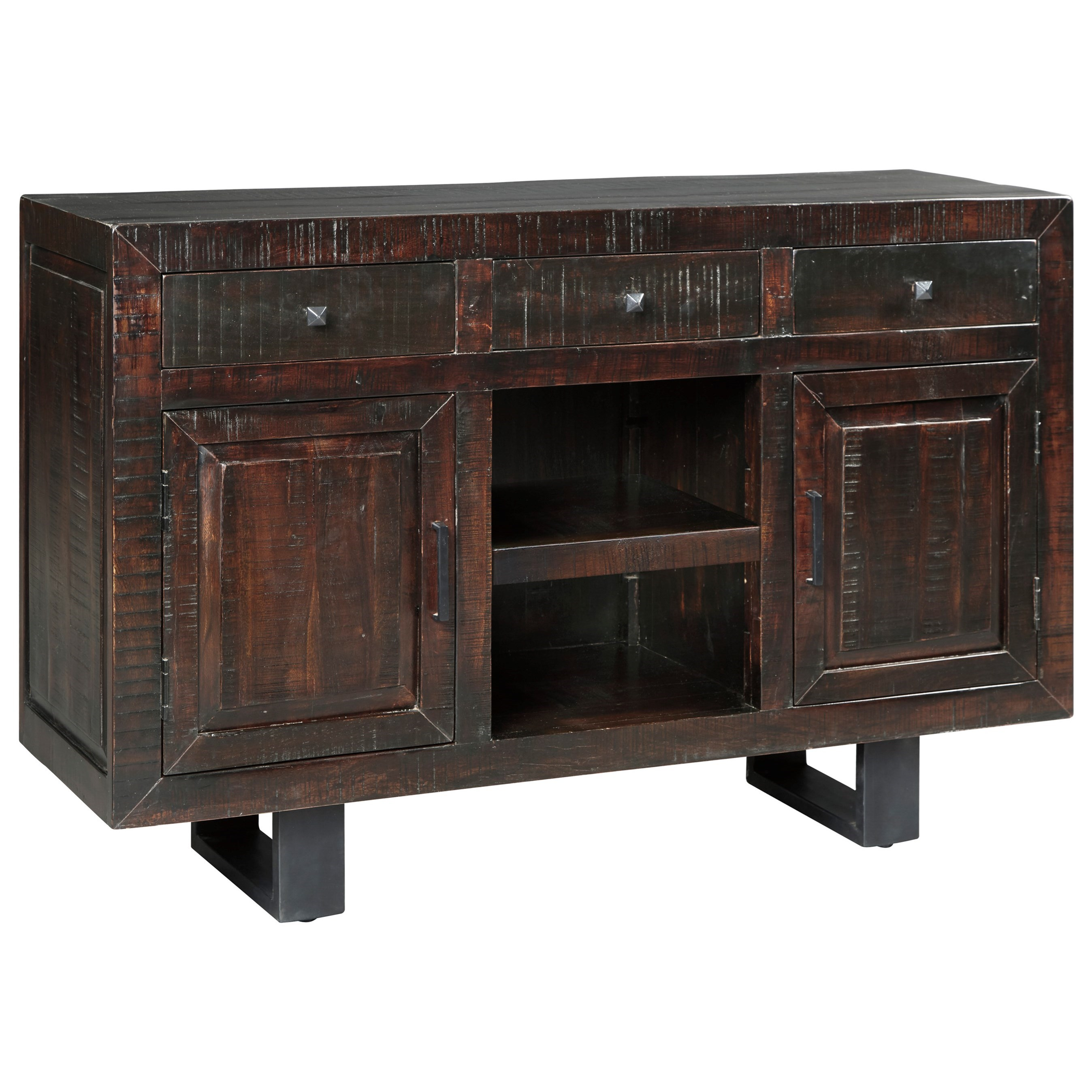 Modern Rustic Dining Room Server With Metal Sled Style Legs