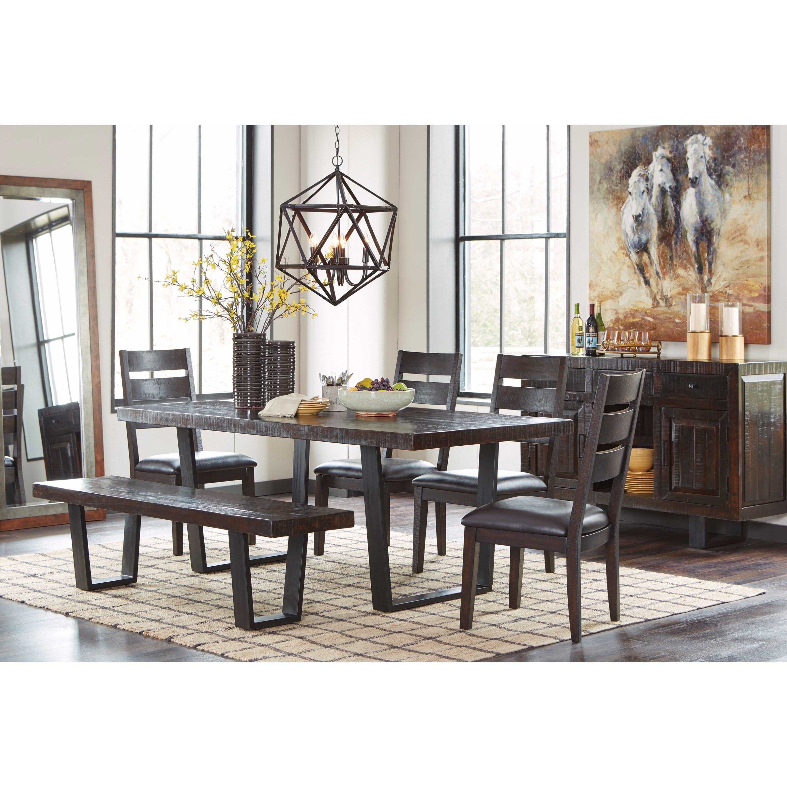 Modern Rustic Dining Room Table modern rustic dining room server with metal sled style metal legs