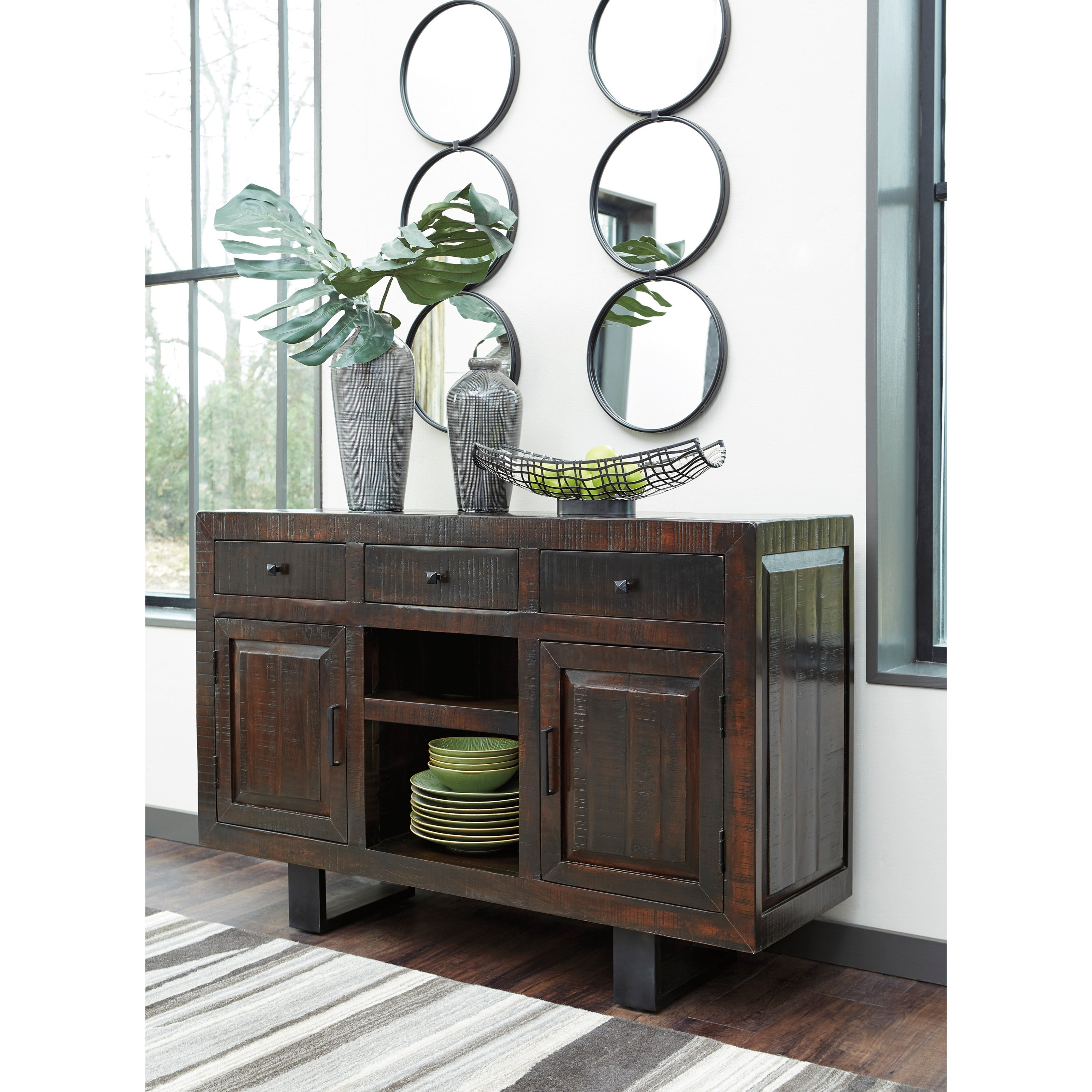 Modern Rustic Dining Room Server With Metal Sled Style Metal Legs