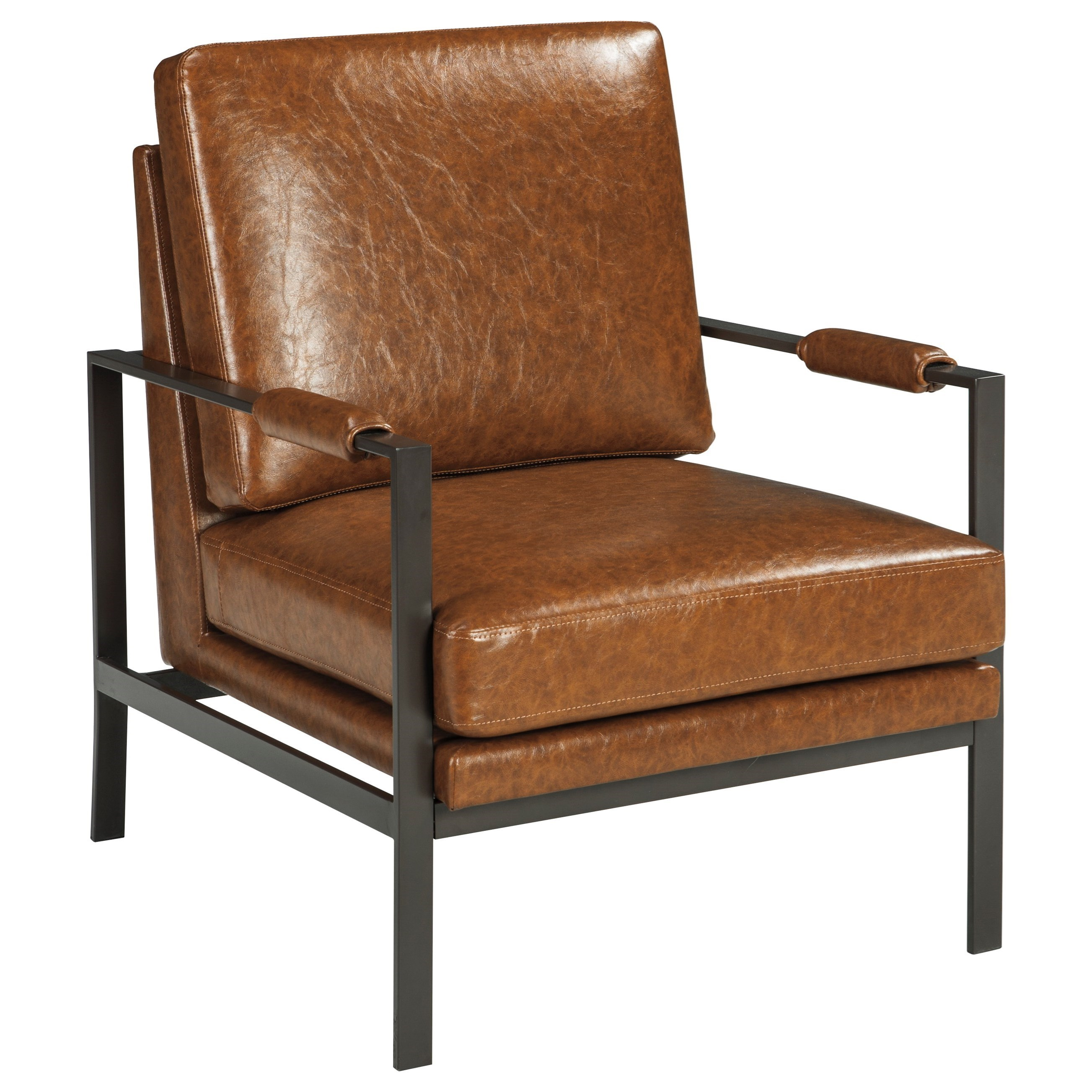 Merveilleux Dark Bronze Finish Metal Arm Accent Chair With Light Brown Faux Leather