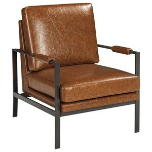 Dark Bronze Finish Metal Arm Accent Chair with Light Brown Faux Leather