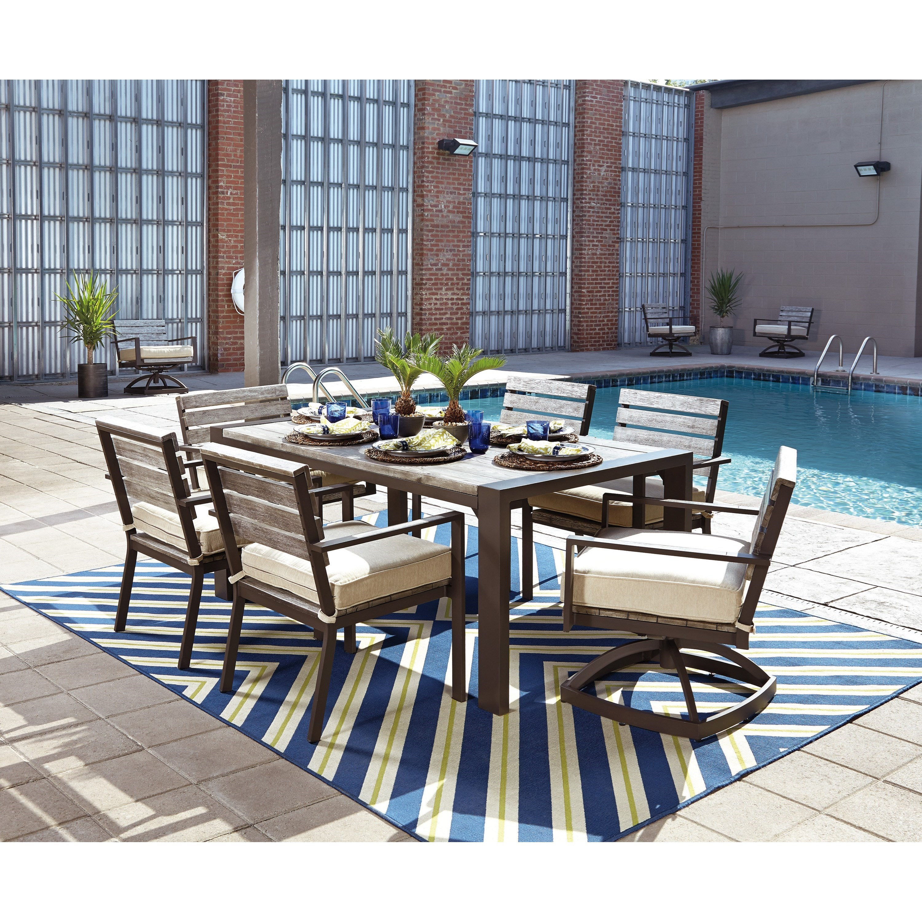 Kitchen sets with swivel chairs - Outdoor Dining Table Set With Swivel Chairs