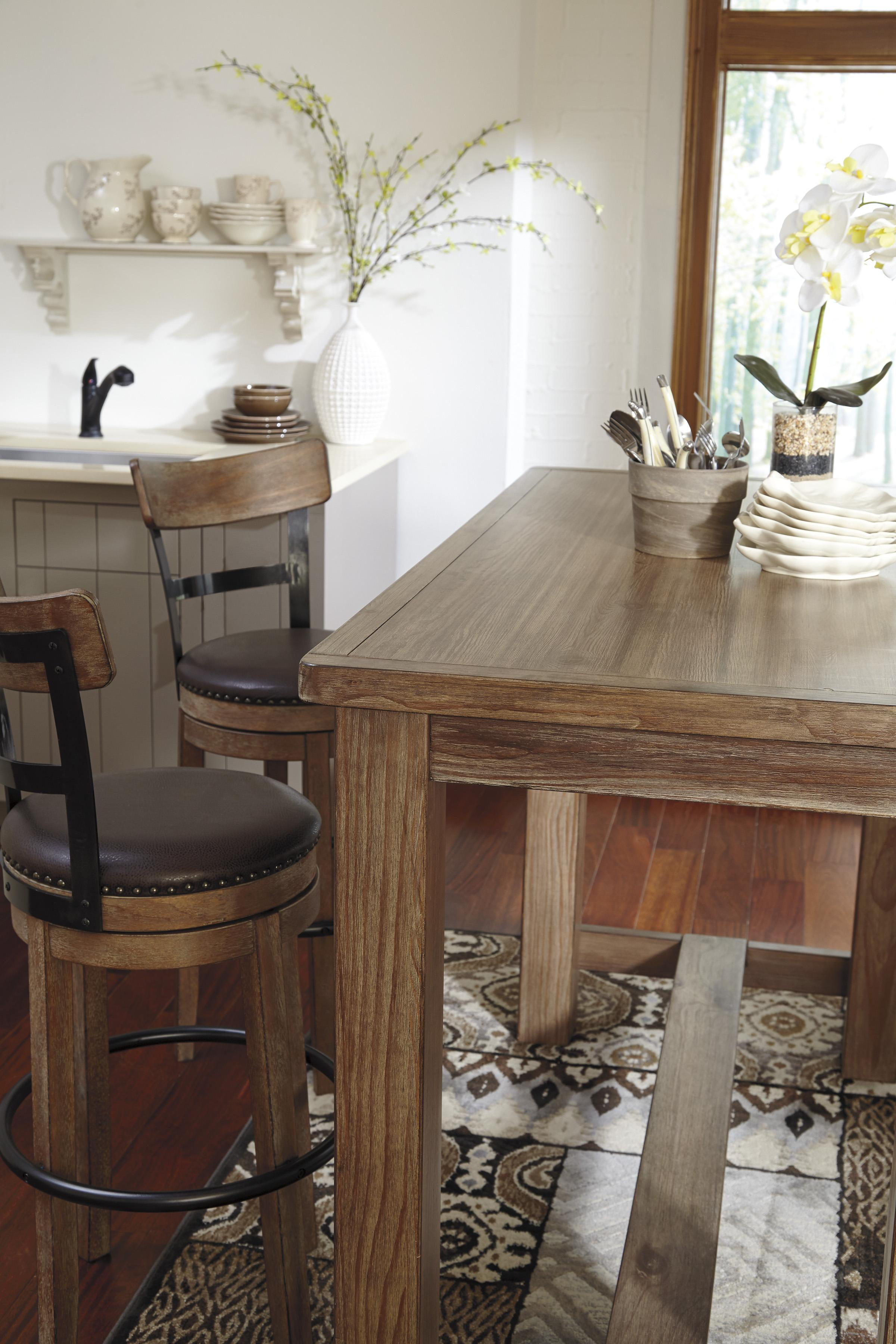 5-Piece Bar Table Set with Upholstered Swivel Stools with Wood ...