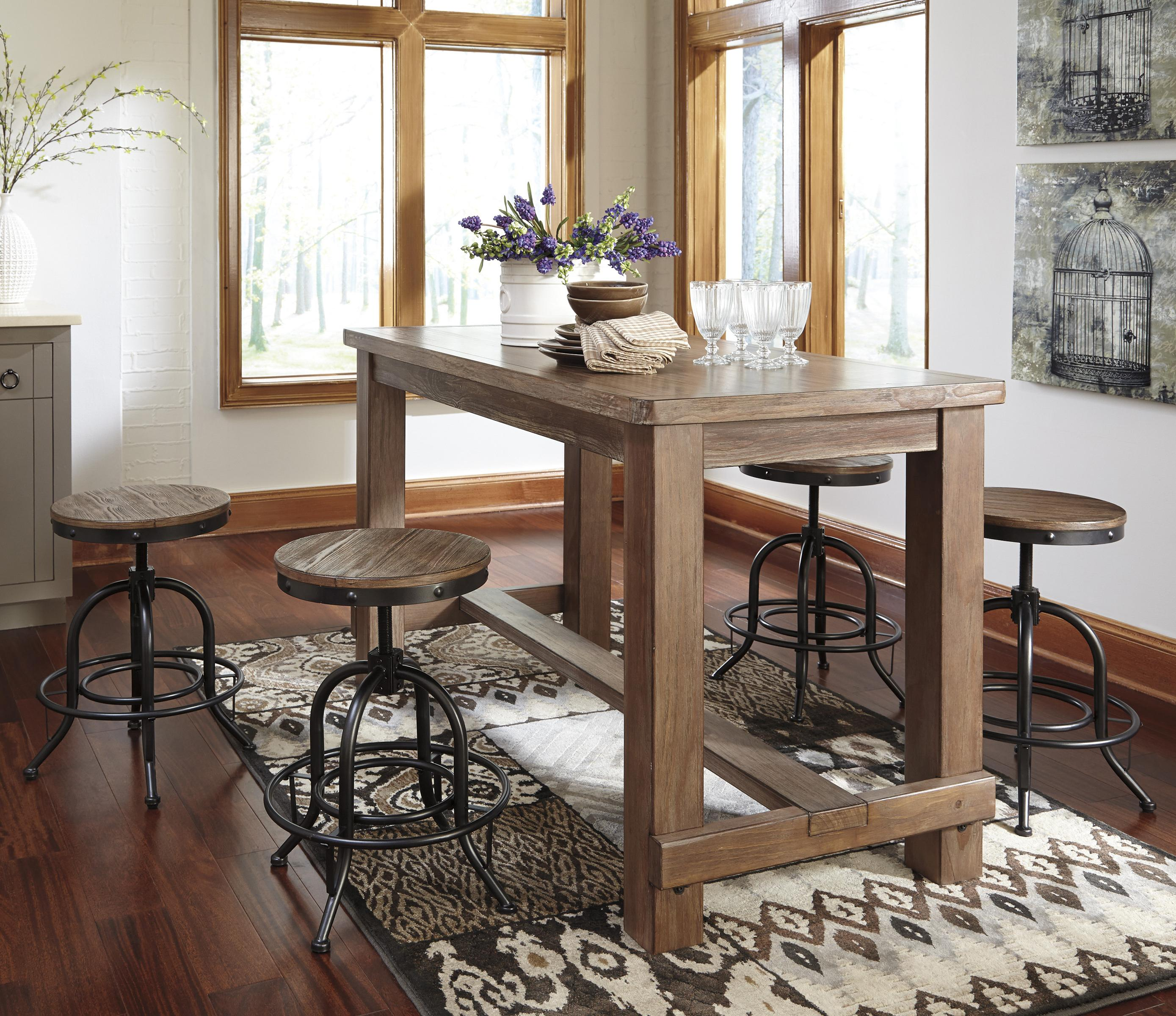 Counter Tables And Stools: 5-Piece Counter Table Set With Industrial Style Adjustable