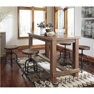 5-Piece Counter Table Set with Industrial Style Adjustable Swivel Stools