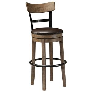 Signature Design by Ashley Pinnadel Tall Upholstered Swivel Barstool