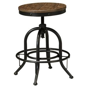 Swivel Stool with Metal Base & Adjustable Height Wood Seat