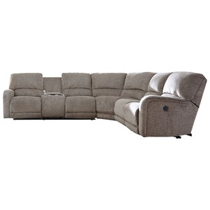 Power Reclining Sectional with Left Storage Console Loveseat
