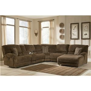 Signature Design by Ashley Pivot Point - Truffle Power Reclining Sectional with Storage