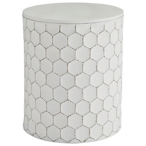 White Metal Indoor/Outdoor Accent Stool with Honeycomb Design