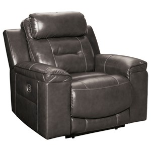 Contemporary Leather Match Power Recliner with Adjustable Headrest