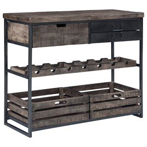 Industrial Accent Cabinet with Wine Bottle Storage