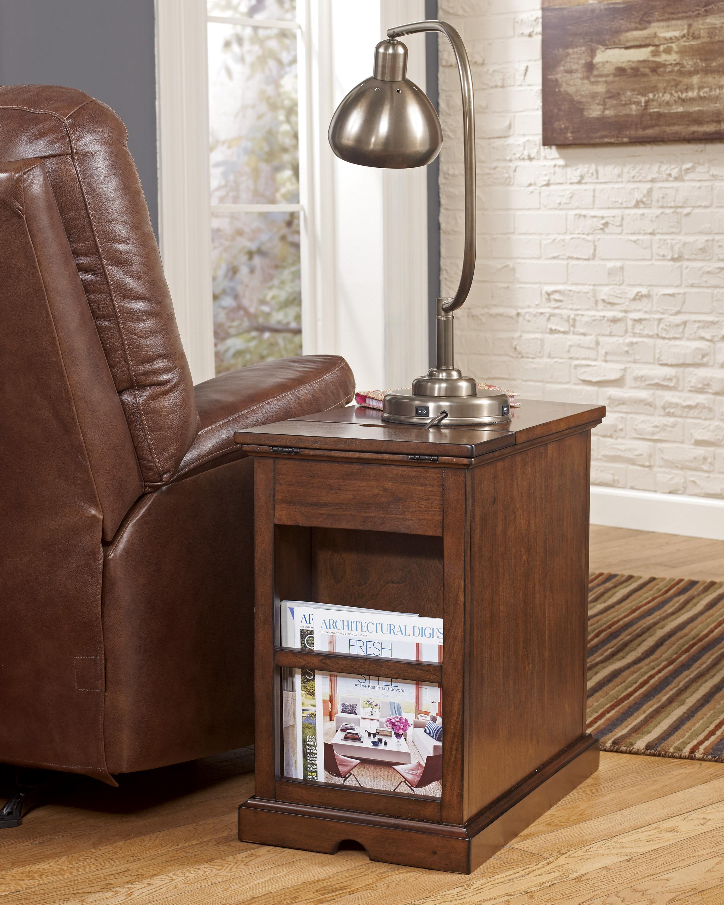 Chairside End Table With Power Outlets Amp Pull Out Shelf By