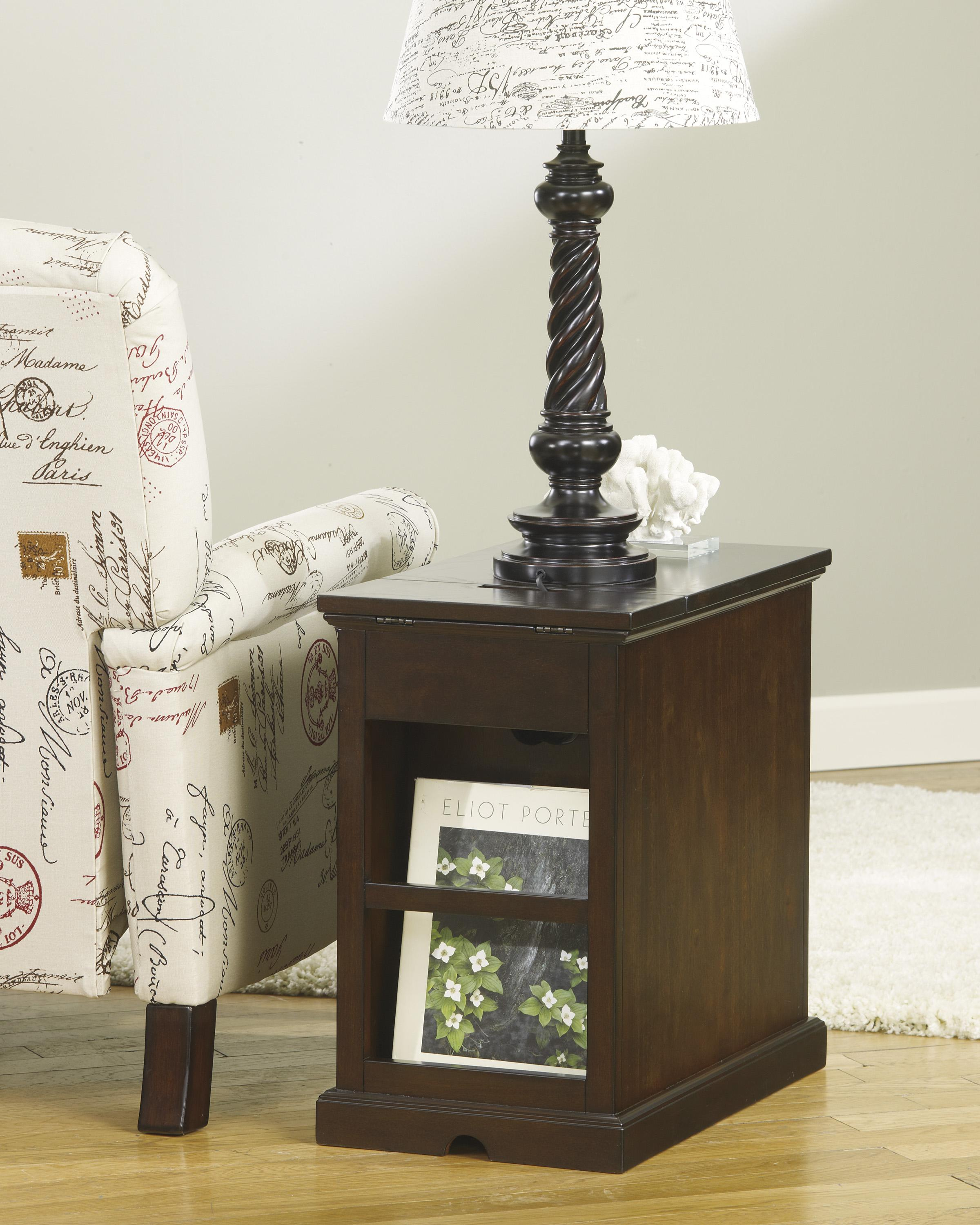 Chair Side End Table with Power Outlets u0026 Pull-Out Shelf ...