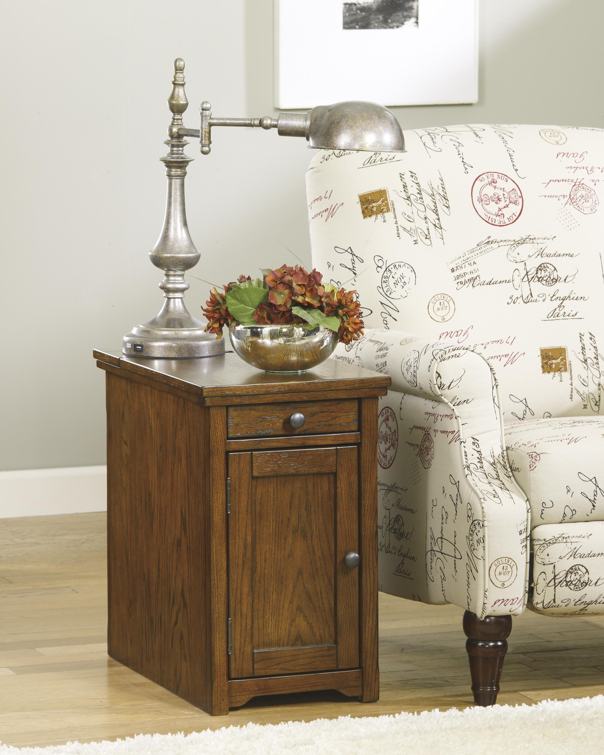 Chairside End Table With Power Outlets & Pull-Out Shelf By