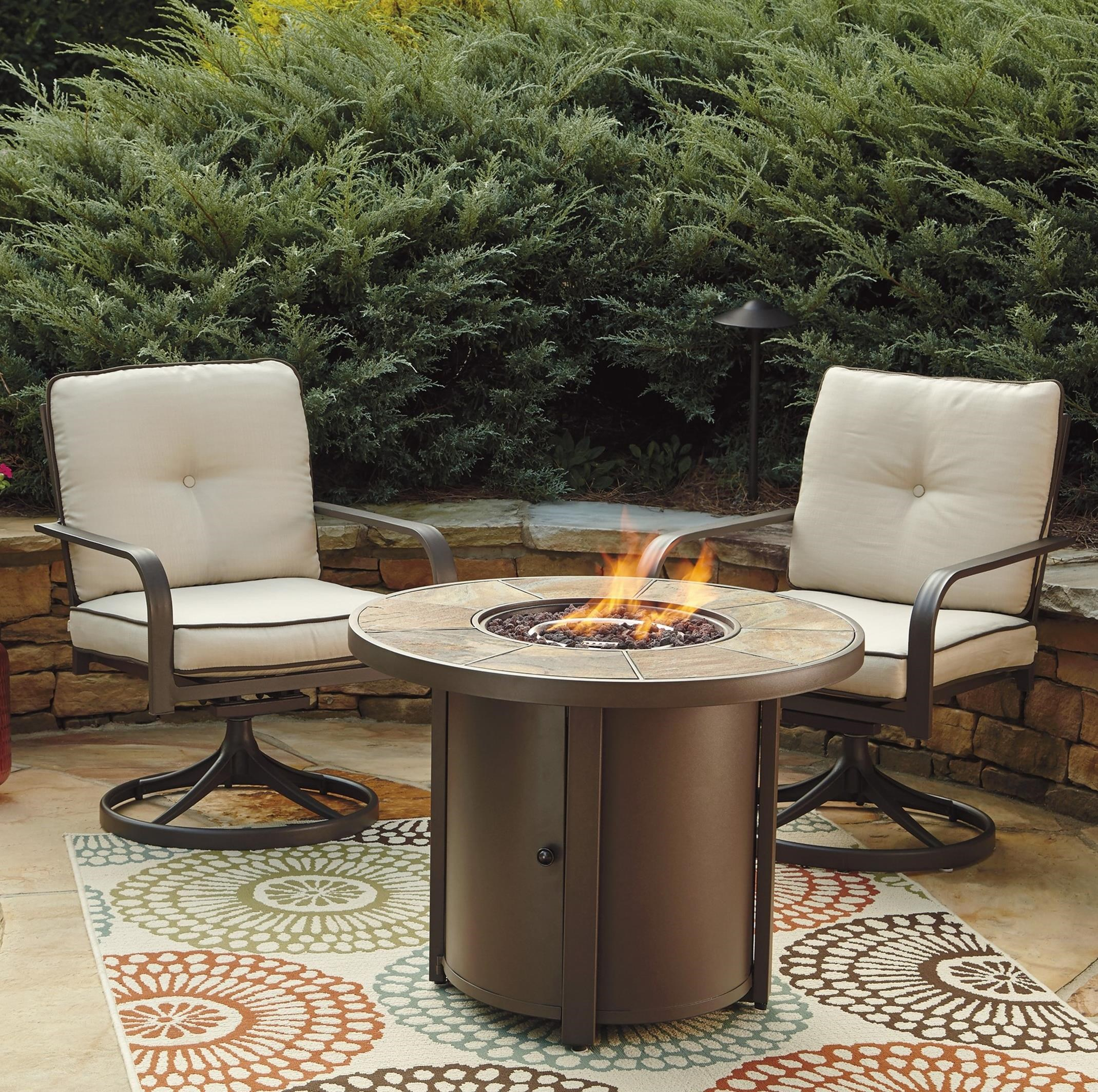 3 Piece Round Fire Pit Table Set w Swivel Lounge Chairs by