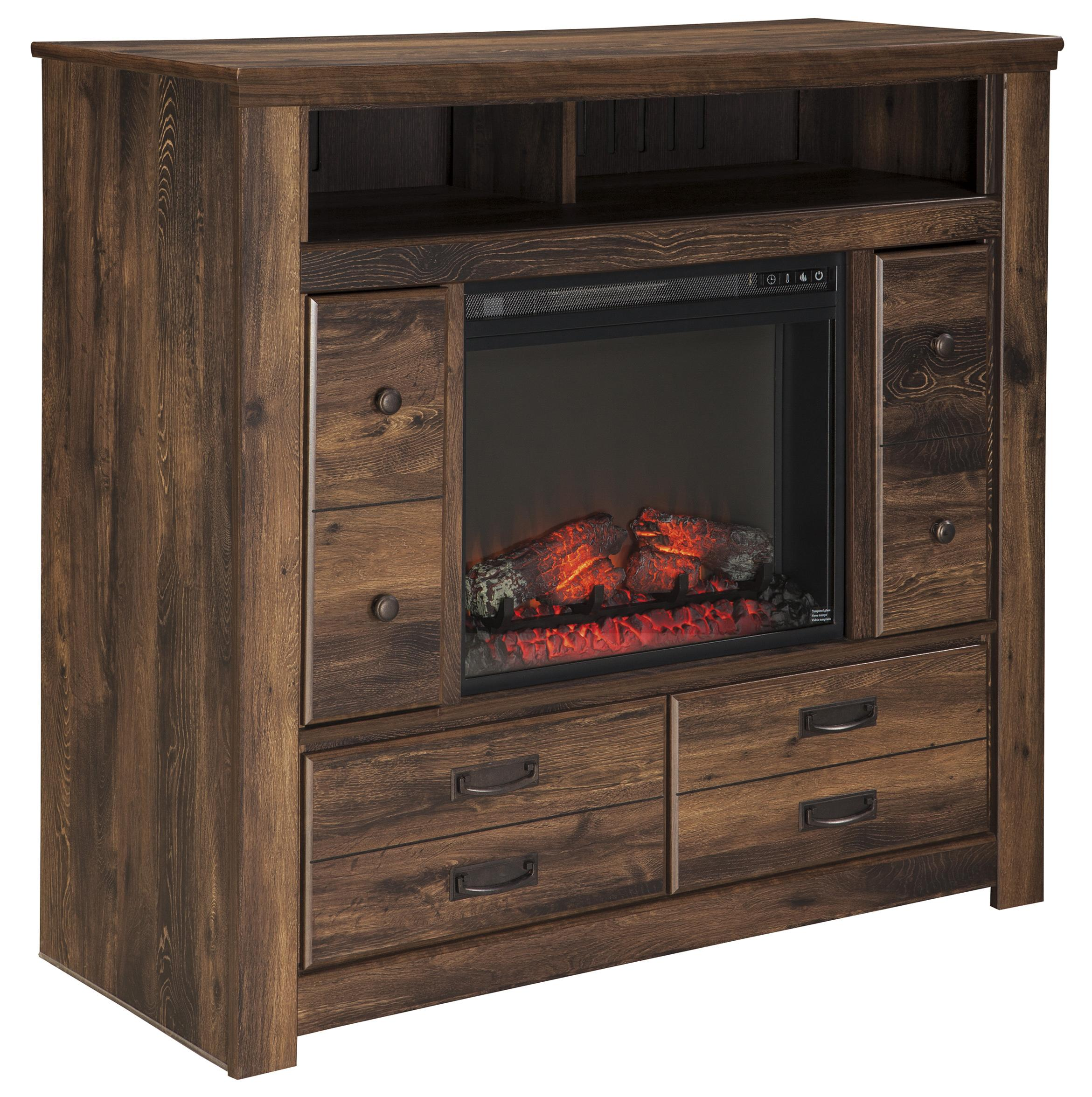 Rustic Media Chest With Fireplace Insert Doors By Signature Design By Ashley Wolf And