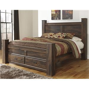 Signature Design by Ashley Furniture Quinden King Poster Bed with Storage