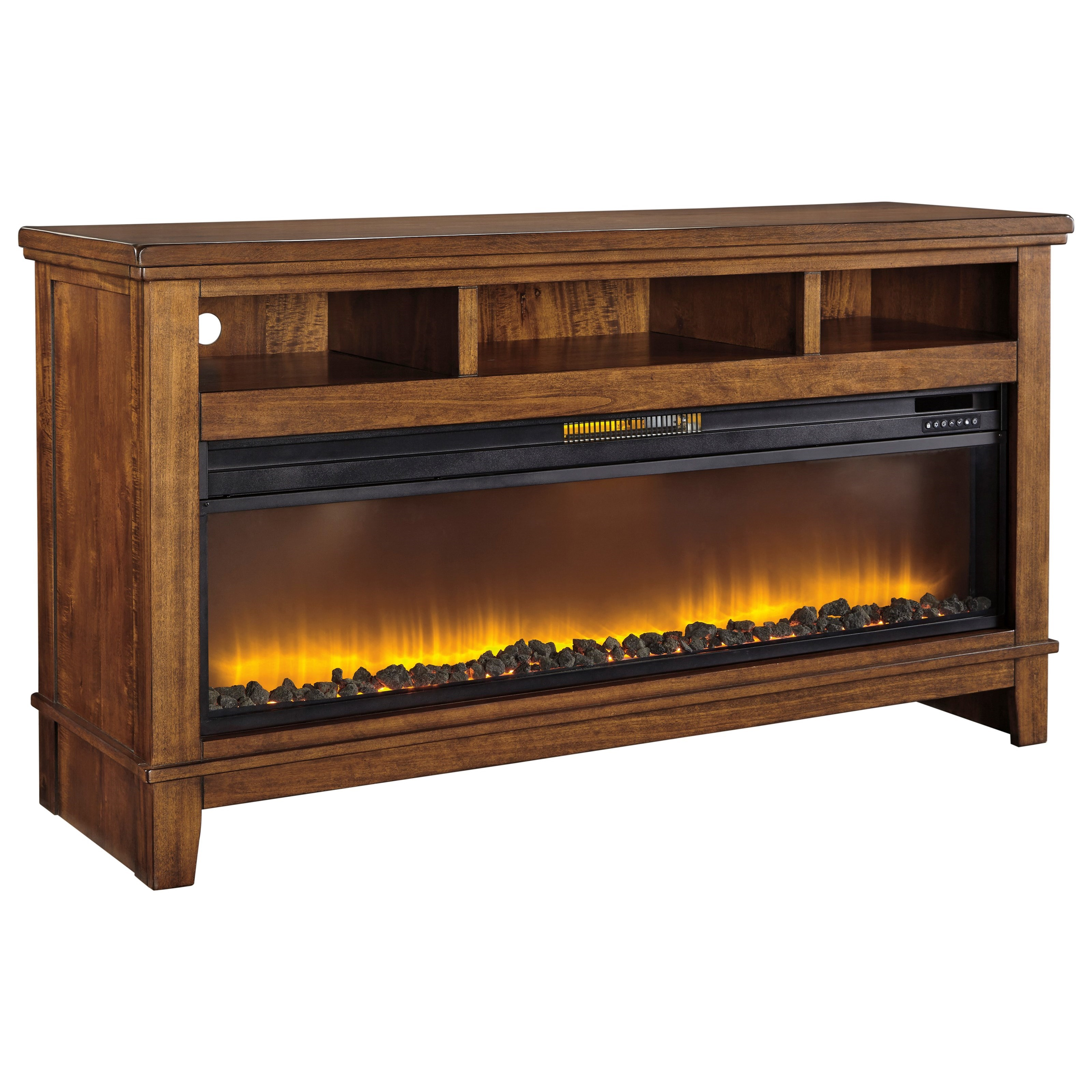 Contemporary Extra Large TV Stand w/ Wide Fireplace Insert ...
