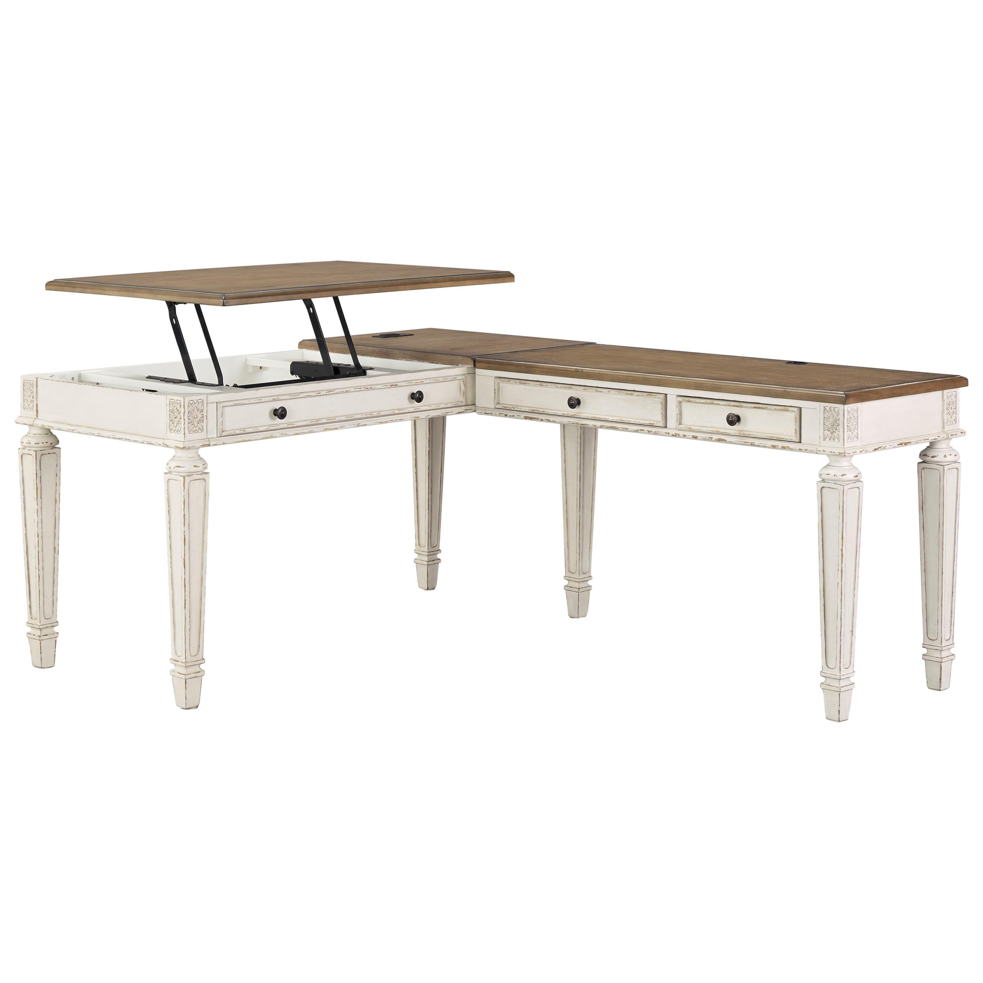 L Shape Desk with Lift Top USB Charging Ports