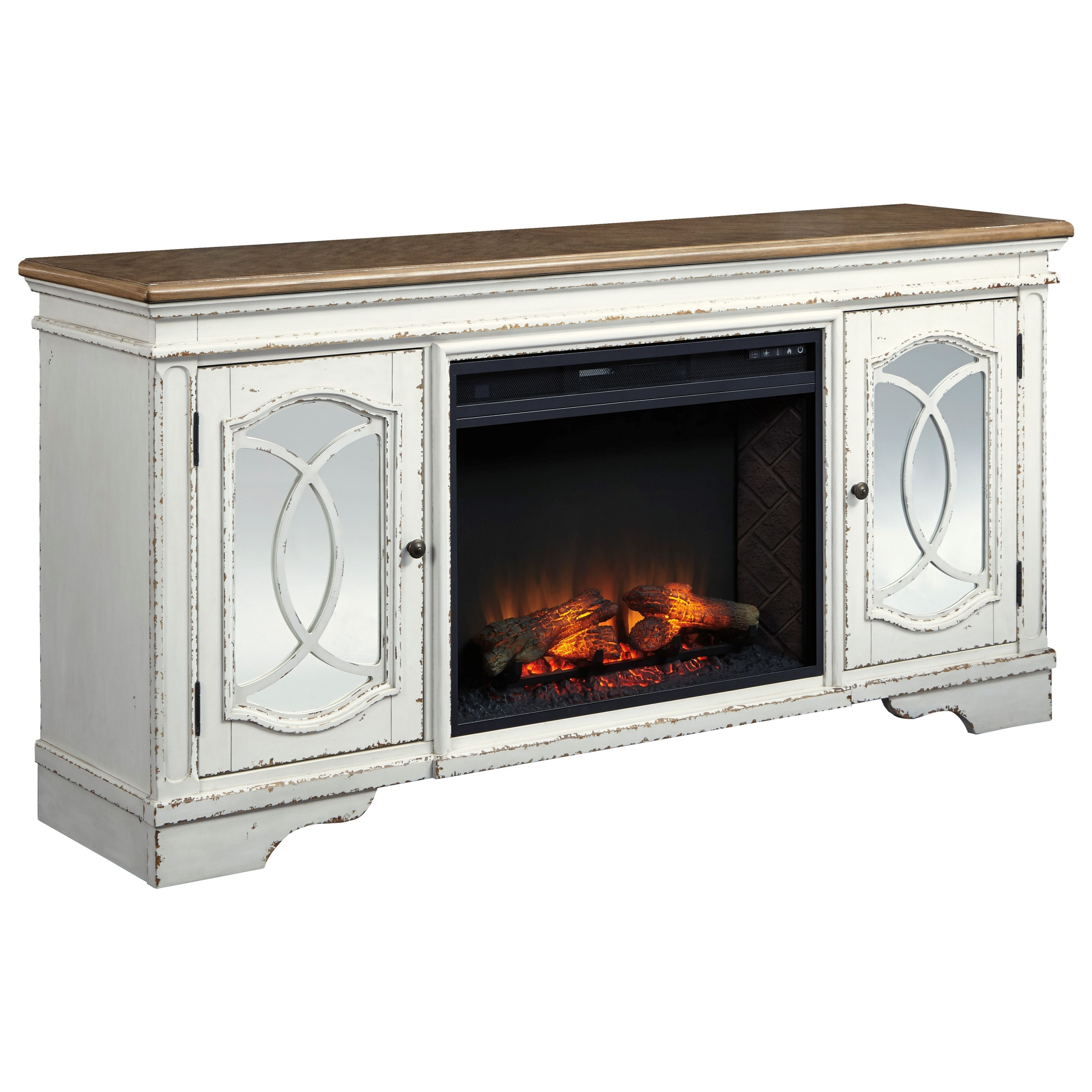 """74"""" TV Stand with Fireplace Insert and Mirrored Doors"""