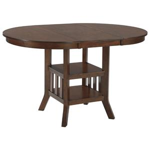 Oval Dining Room Counter Extension Table with 2 Shelves