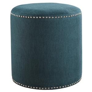Contemporary Cylindrical Accent Ottoman with Nailhead Trim