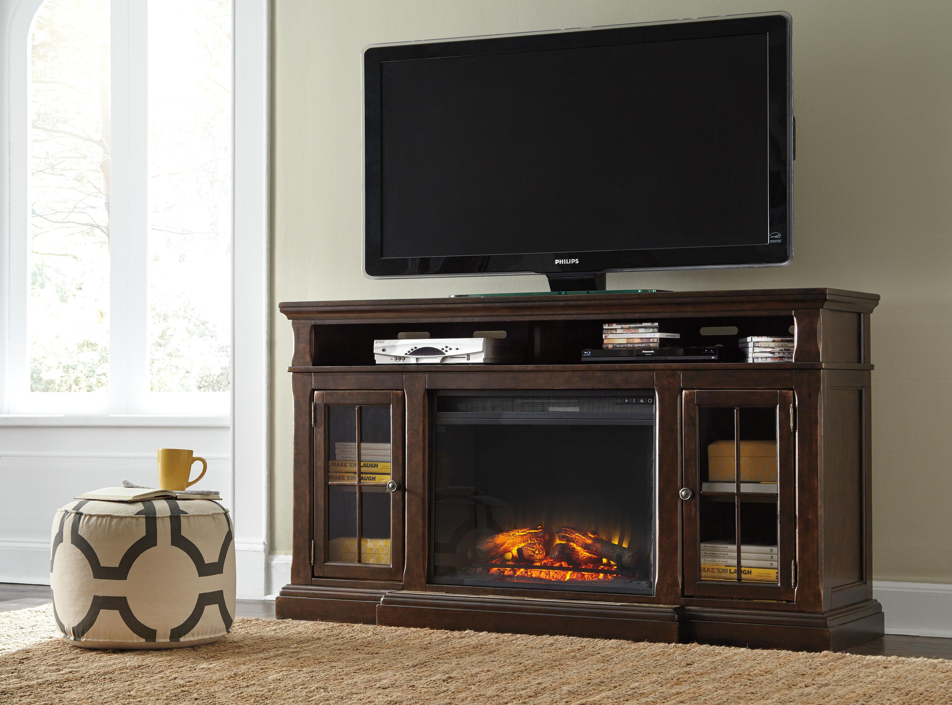 Transitional Extra Large TV Stand w/ Fireplace Insert by Signature ...
