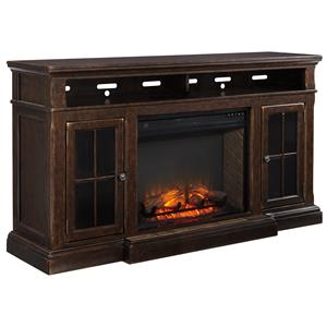 Transitional Extra Large TV Stand w/ Fireplace Insert