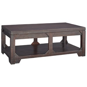 Rustic Lift Top Cocktail Table with Shelf