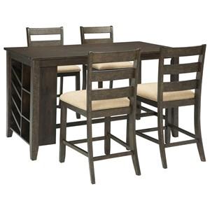 5-Piece Rectangular Counter Table w/ Storage Set