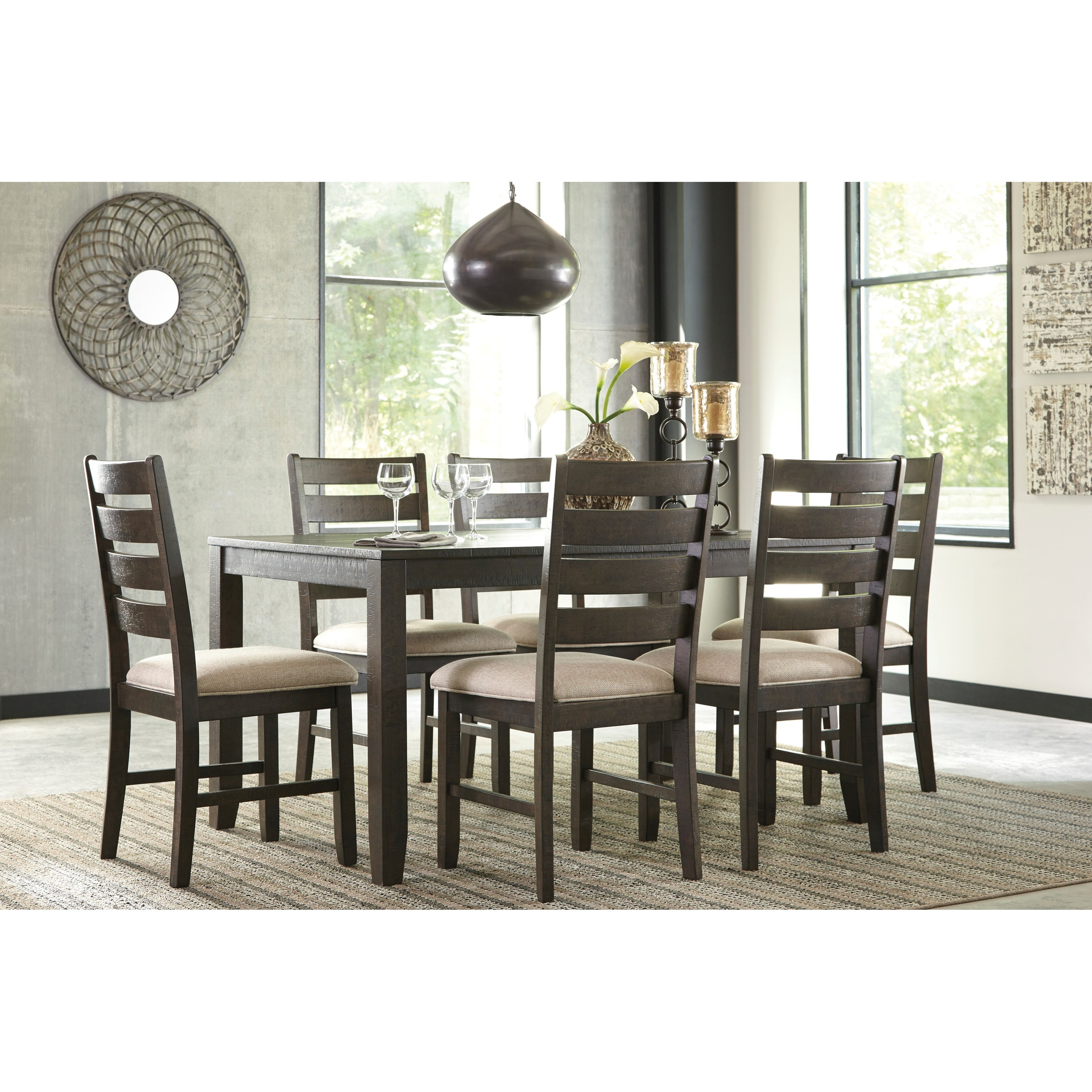 Dining Room Furniture Pieces: Contemporary 7-Piece Dining Room Table Set By Signature