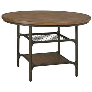 Industrial Metal/Wood Round Dining Room Table with 2 Shelves