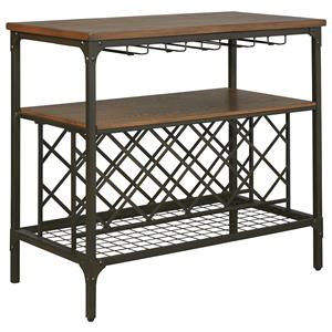Metal/Wood Dining Room Server with Wine Racks & Stemware Storage