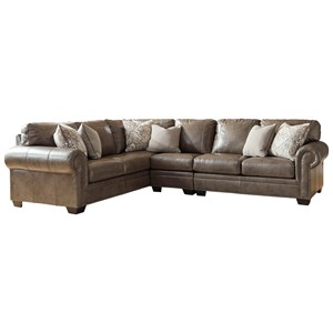 Transitional 3-Piece Sectional with Nailhead Trim