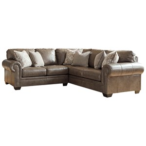 Transitional 2-Piece Sectional with Nailhead Trim