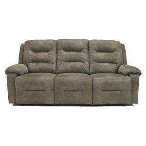 Contemporary Reclining Sofa with Chaise Style Leg Rests and Pillow Arms