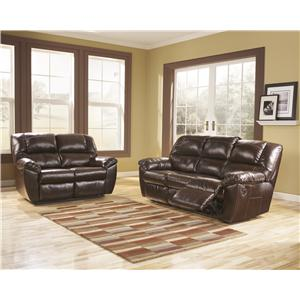 Signature Design by Ashley Furniture Rouge DuraBlend - Mahogany Reclining Living Room Group