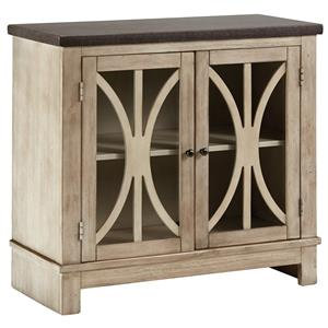 Two-Tone Door Accent Cabinet with Filigree Doors