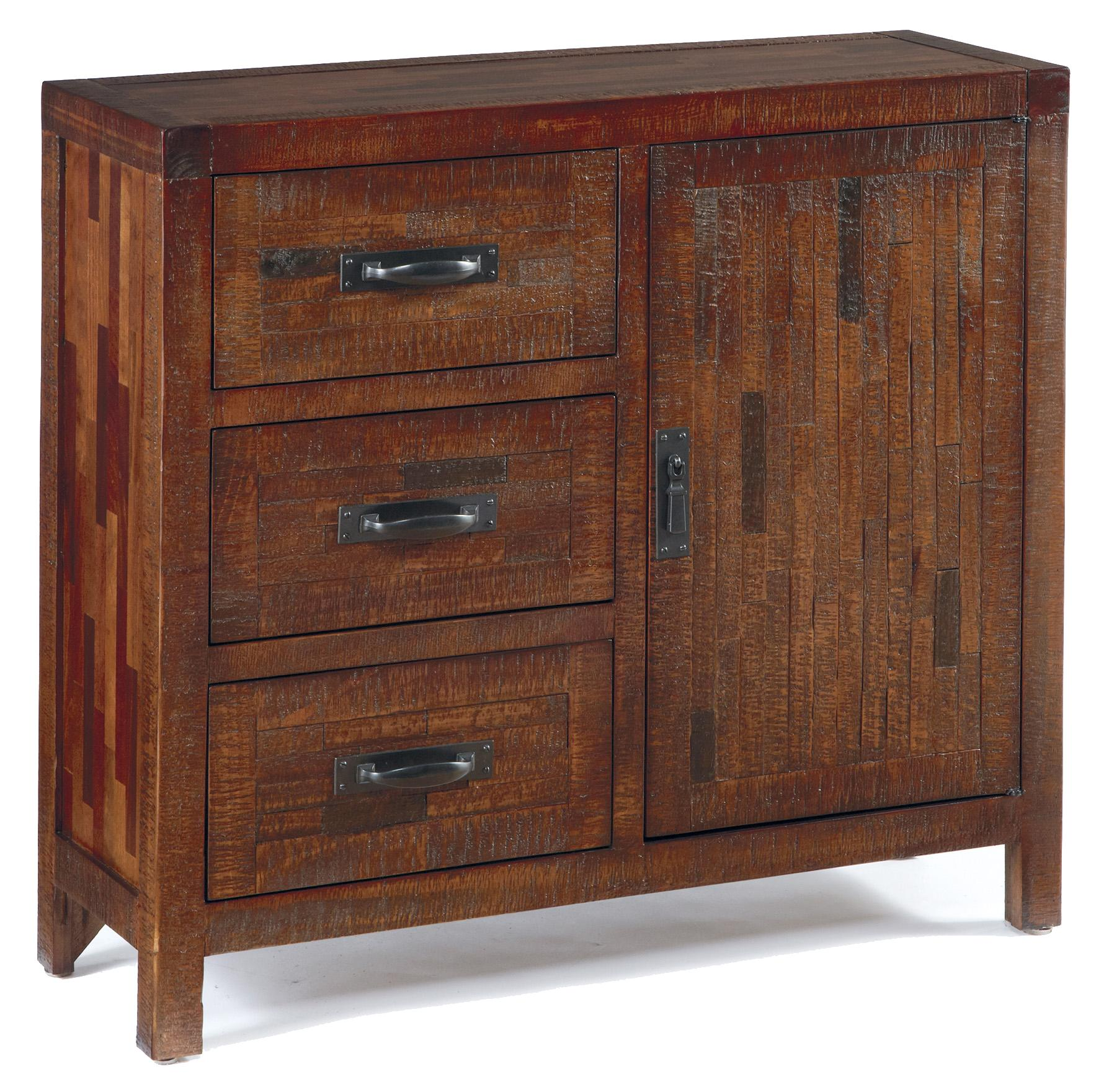 Rustic Accent Cabinet with Pine and Mixed Butcher-Block Veneer