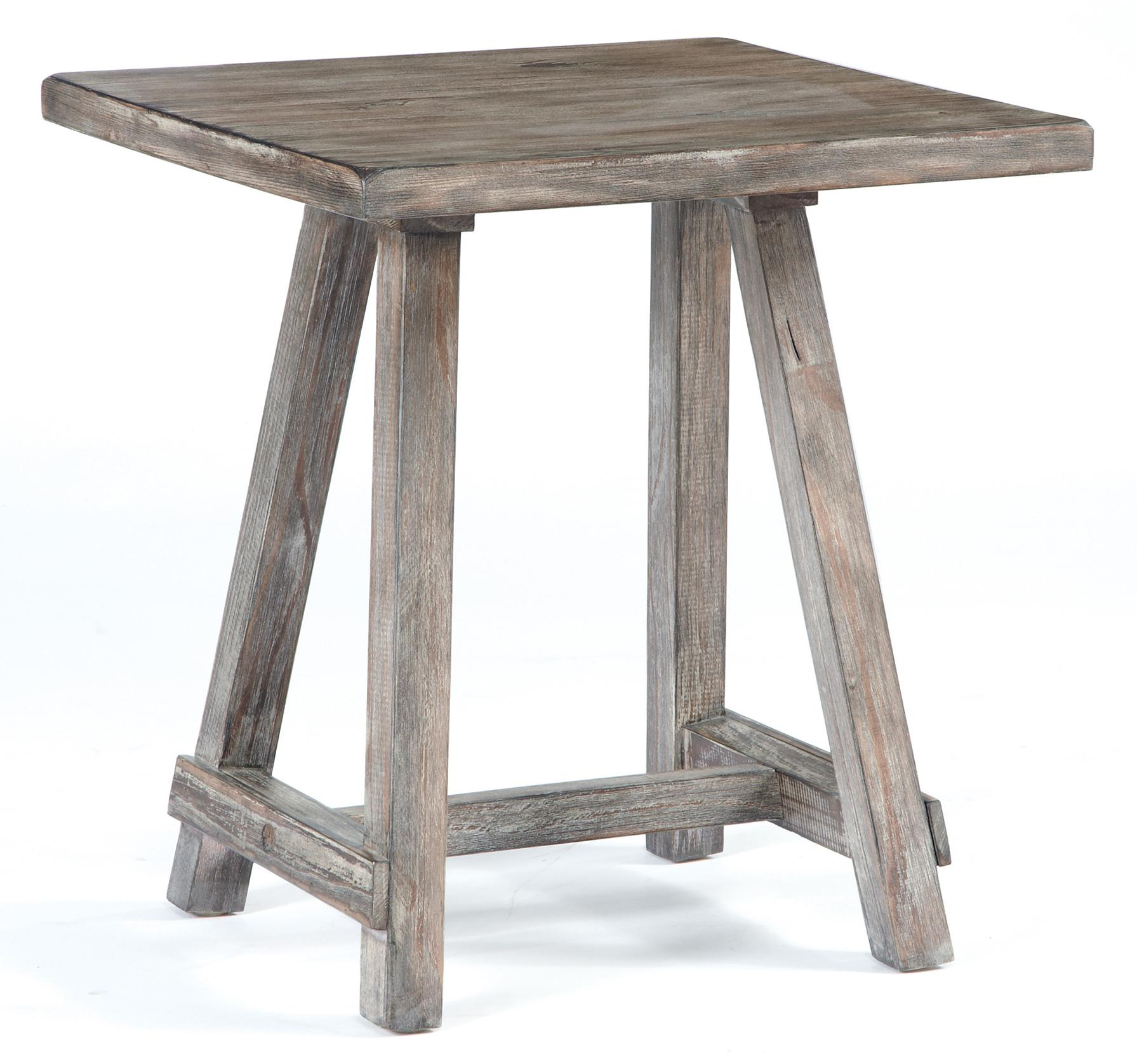 Charming Distressed Driftwood Finish Chairside End Table