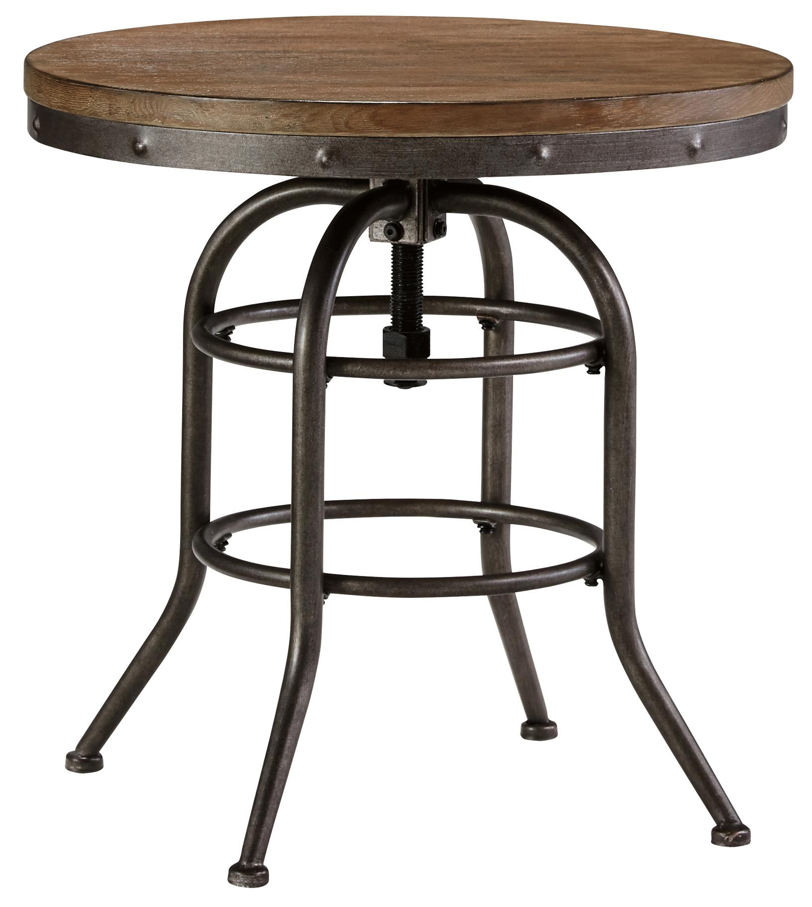 Merveilleux Industrial Style Round End Table With Adjustable Height