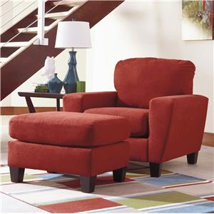 Contemporary Chair with Shaped Track Arms & Ottoman