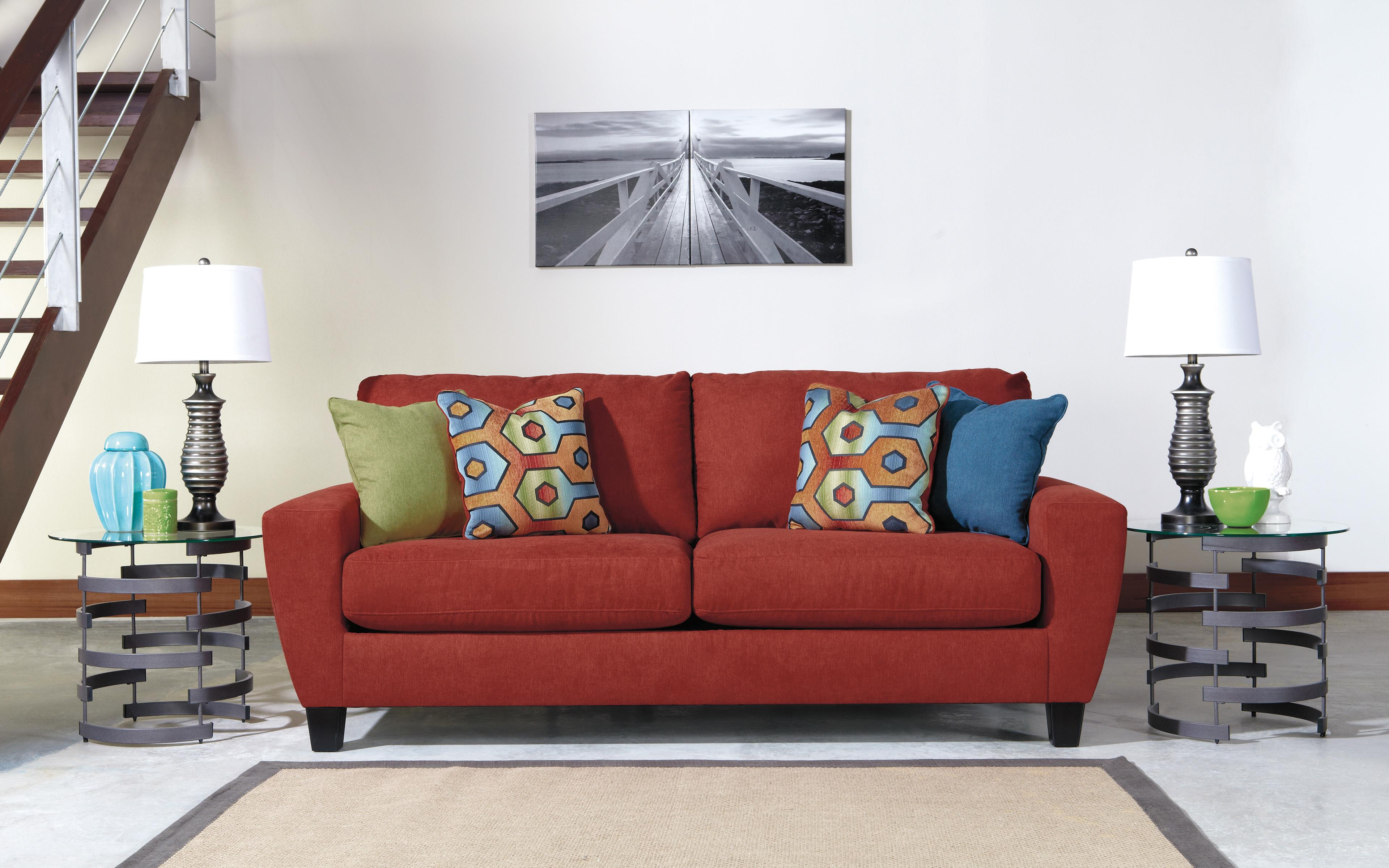 Contemporary Sofa with Shaped Track Arms by Signature Design by