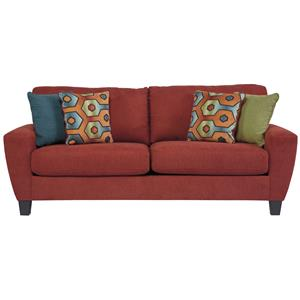 Contemporary Queen Sofa Sleeper with Shaped Track Arms