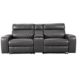 Transitional Power Reclining Loveseat with Storage Console