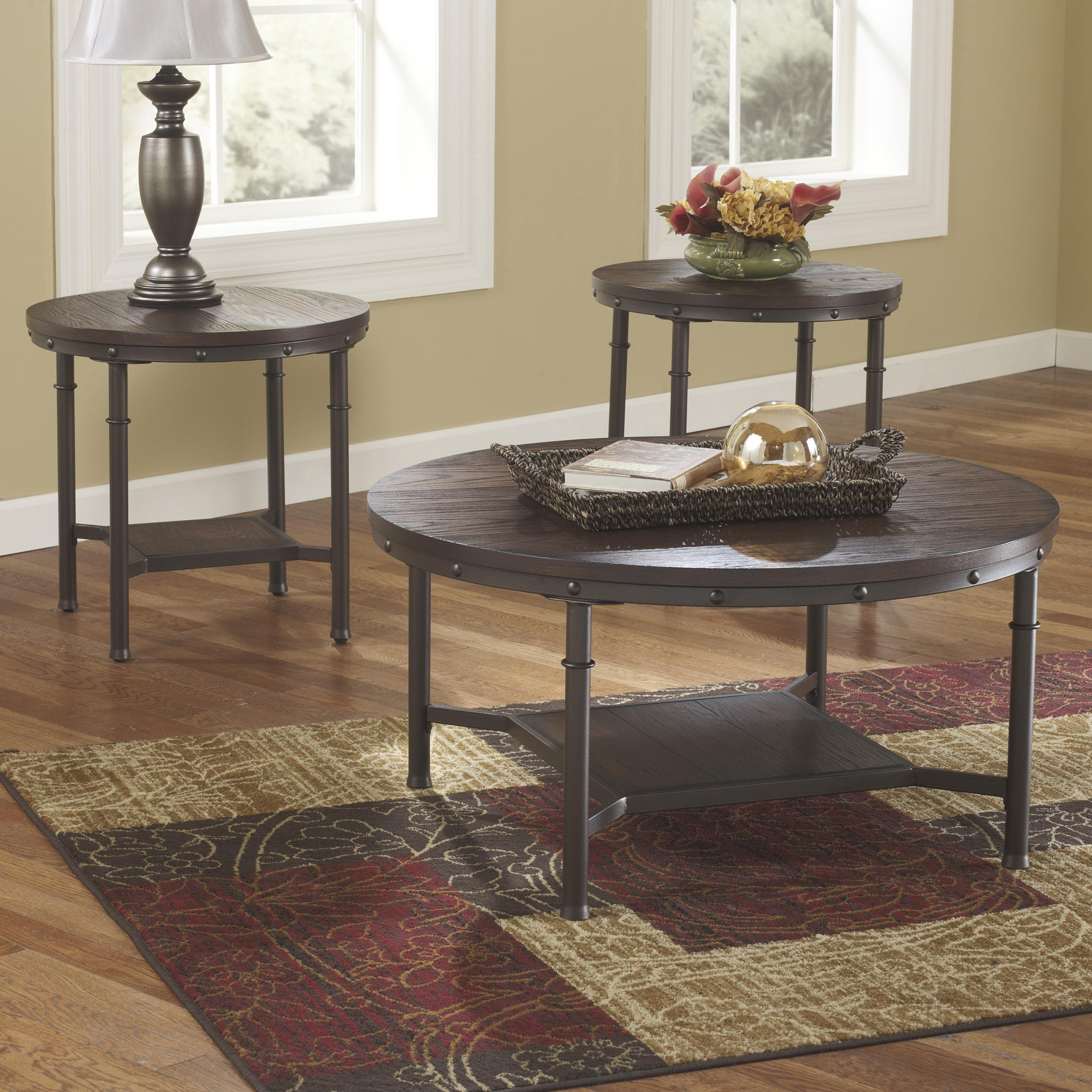 Rustic Metal and Wood Veneer Occasional Table Set