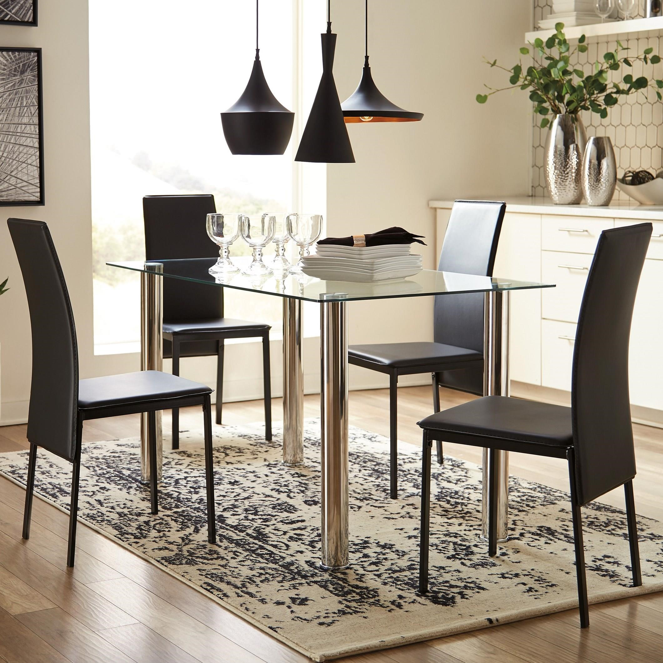 Contemporary Five Piece Chair and Table Set with Glass Top